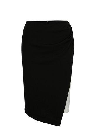 Čierno-biela sukňa s prekladaným predným dielom DKNY