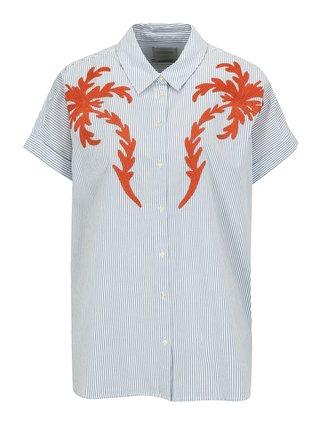 Modro-krémová pruhovaná košeľa s výšivkou Scotch & Soda