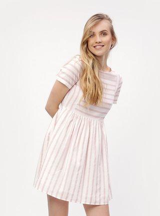 Bielo-ružové pruhované šaty VERO MODA Sunny