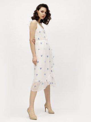 Rochie lejera alba cu volane asimetrice si print floral - VERO MODA Danni