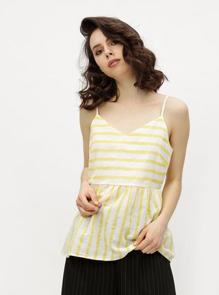Bielo–žltý pruhovaný top VERO MODA Sunny