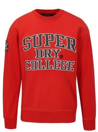 Bluza sport rosie cu text brodat pentru barbati - Superdry
