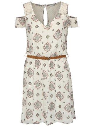 Bílé vzorované šaty s páskem a průstřihy na ramenou ONLY Zoe