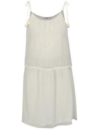Hnědo-bílé vzorované šaty s bambulemi ONLY Zoe