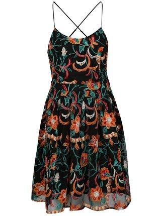 Čierne kvetované šaty na ramienka ONLY Monica