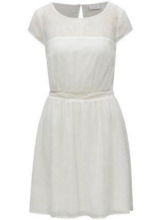 Bílé vzorované šaty s průstřihem na zádech VILA Alpa