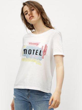 Biele tričko s potlačou VERO MODA Woodie