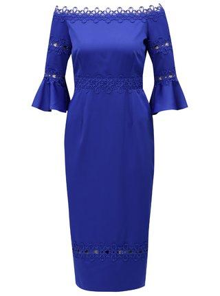 Modré šaty s odhalenými ramenami Little Mistress