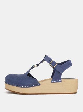 69d28172f3e7 Dreváky na platforme s modrými koženými remienkami Swedish Hasbeens Ring  Sandal