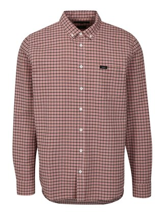 Růžová kostkovaná regular fit košile Makia Keeper
