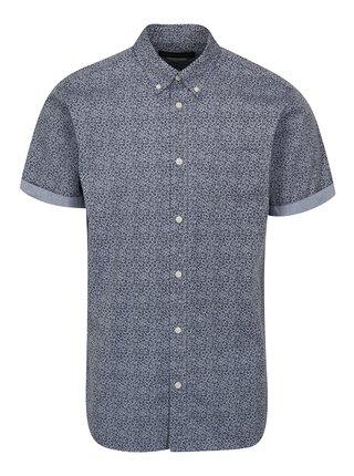 Modrá kvetovaná slim fit košeľa Jack & Jones Kevin