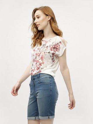 Bluza crem cu model si broderie M&Co