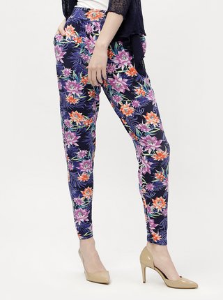 Tmavomodré dámske vzorované nohavice M&Co