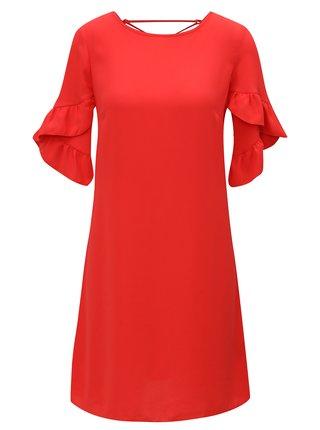 Červené šaty s volánovými rukávmi Dorothy Perkins