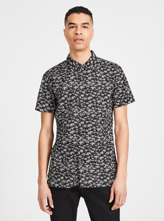 Čierna vzorovaná slim fit košeľa Jack & Jones Premium Hawaii