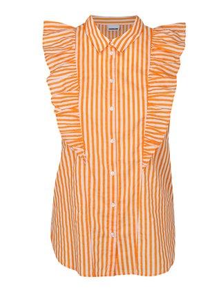 Oranžovo–biela pruhovaná blúzka s volánmi Noisy May Jack