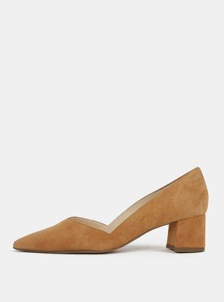Pantofi bej din piele intoarsa cu toc mic stabil - Högl