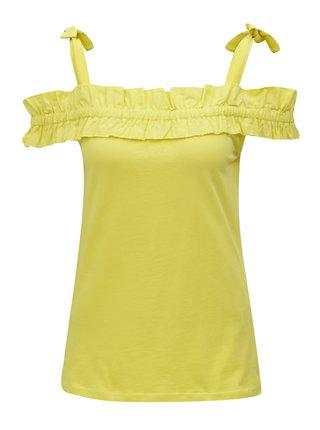 Žlté tielko s volánom a ramienkami na zaväzovanie Dorothy Perkins