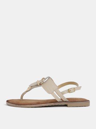 Krémové růžové kožené sandály s přezkou Tamaris