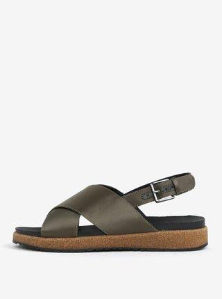 Sandale verde inchis cu reflexii metalice pentru femei - Woden Sille