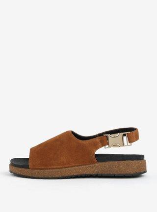 Sandale maro din piele intoarsa pentru femei - Woden Stella