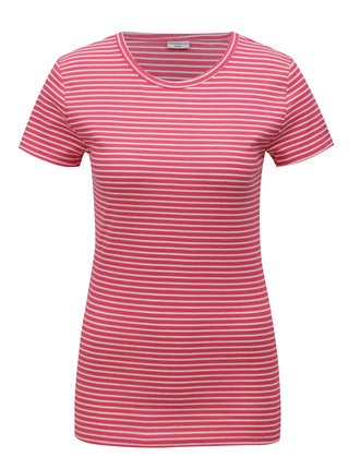 Růžové pruhované basic tričko Jacqueline de Yong Christine