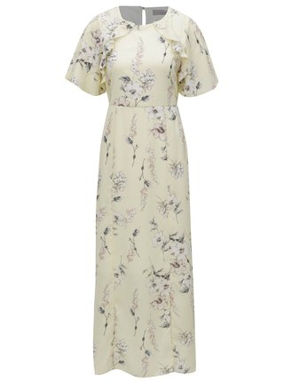 Rochie maxi galben deschis cu model floral Dorothy Perkins Petite