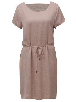 Starorůžové šaty s krajkou na zádech VILA Cava
