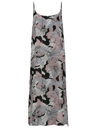 Rochie midi roz-gri cu model floral si bretele Fornarina Rue