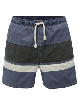 Sivo-modré pánske pruhované plavky Rip Curl