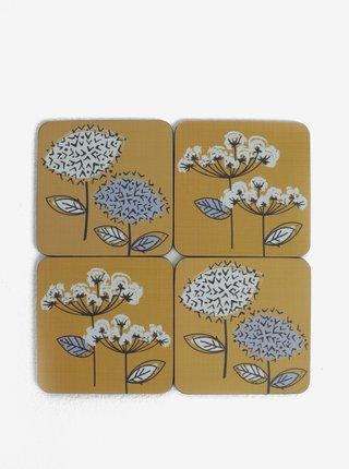 Set de patru suporturi de pahare mustar cu motiv floral Cooksmart