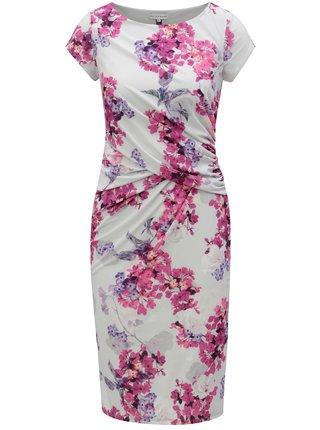 Rochie teaca roz-gri cu model floral Dorothy Perkins