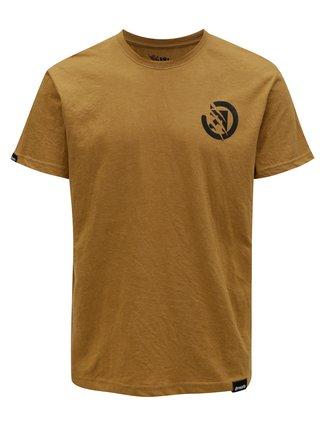 Světle hnědé pánské tričko s potiskem na zádech MEATFLY Bruce