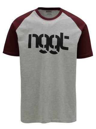 Vínovo-sivé pánske tričko NUGGET Asset
