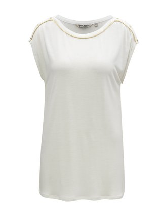 a134db800 Biele dámske tričko s pruhom v zlatej farbe Garcia Jeans
