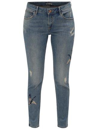 Světle modré dámské zkrácené slim fit džíny s výšivkami Garcia Jeans Rachelle