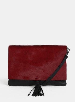 Čierno-vínová kožená crossbody kabelka s kožušinovou chlopňou ZOOT