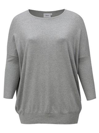 Sivý dlhý dámsky sveter Zizzi