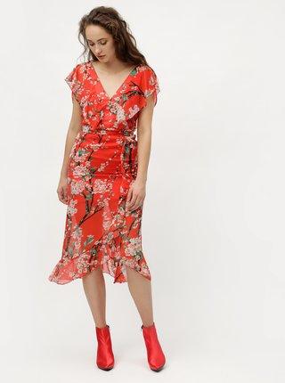 Rochie rosie midi cu model floral MISSGUIDED