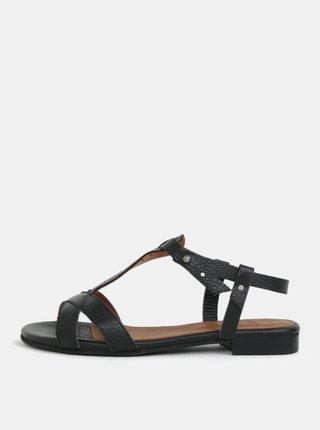 Čierne kožené sandálky s remienkom cez priehlavok Selected Femme Hannah