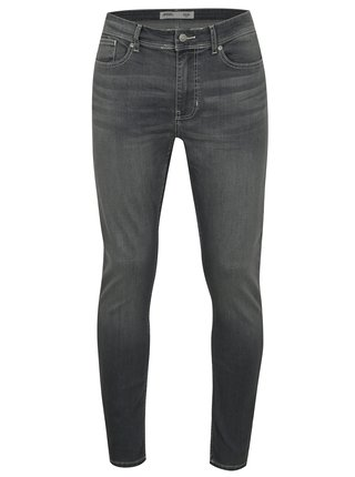 Blugi gri stretch skinny din denim cu aspect prespalat Burton Menswear London