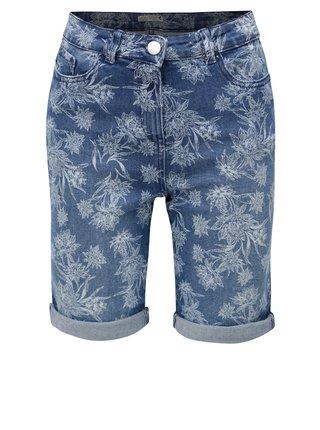 Pantaloni de dama albastri scurti din denim cu model floral M&Co
