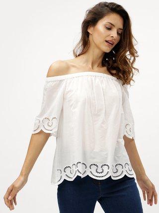 Bluza alba cu decolteu pe umeri M&Co Cutwork