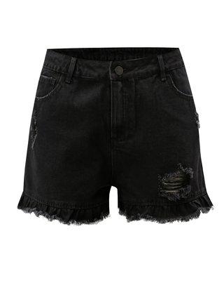 Černé džínové kraťasy s vysokým pasem a potrhaným efektem VILA Visadora