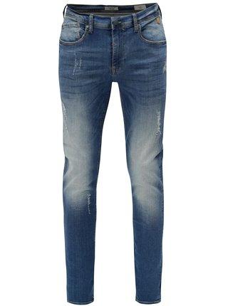 Modré skinny džíny s vyšisovaným a potrhaným efektem Blend