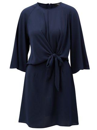 Rochie albastru inchis cu nod in fata si maneci 3/4 AX Paris