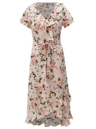 Rochie maxi roz deschis cu model floral si volane Dorothy Perkins Petite