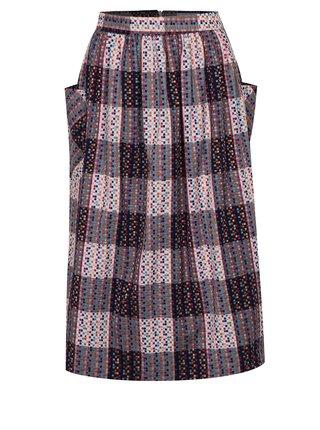 Růžovo-modrá vzorovaná midi sukně Fever London Hadley