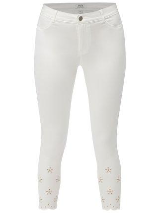 Bílé skinny džíny s květinovou výšivkou Dorothy Perkins Petite