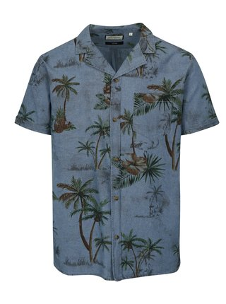 Camasa albastra cu imprimeu tropical si maneci scurte Shine Original